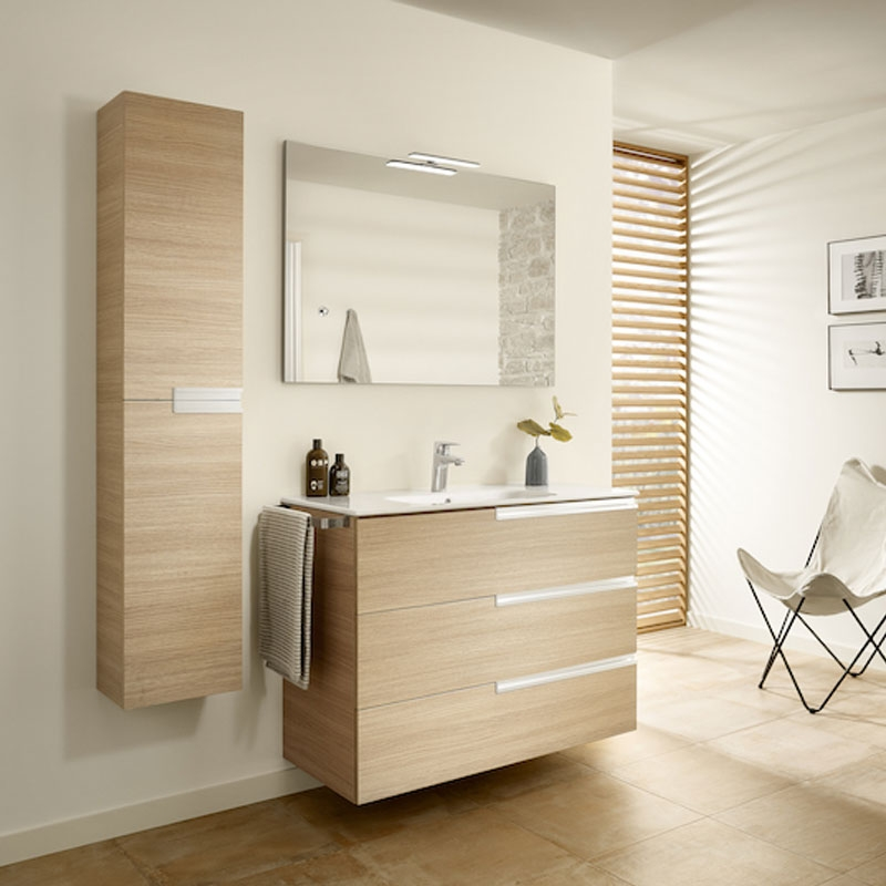 Roca Victoria-N Unik 3-Drawers Vanity Unit with Basin 1000mm Wide Textured Oak 1 Tap Hole-0