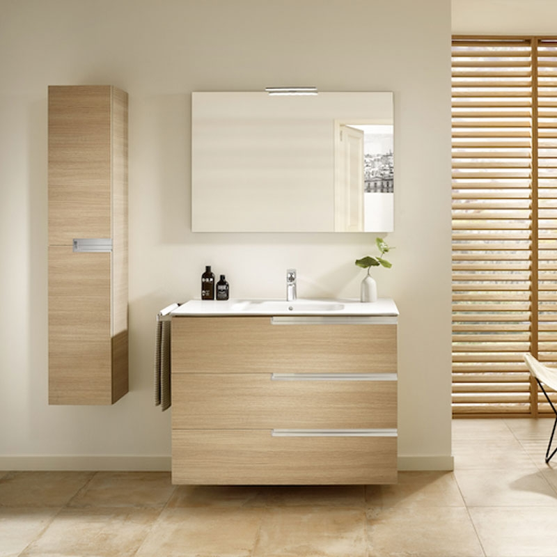Roca Victoria-N Unik 3-Drawers Vanity Unit with Basin 1000mm Wide Textured Oak 1 Tap Hole