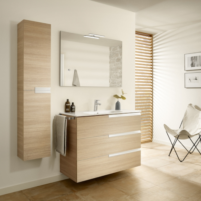 Roca Victoria-N Unik 3-Drawers Vanity Unit with Basin 800mm Wide Textured Oak 1 Tap Hole-0