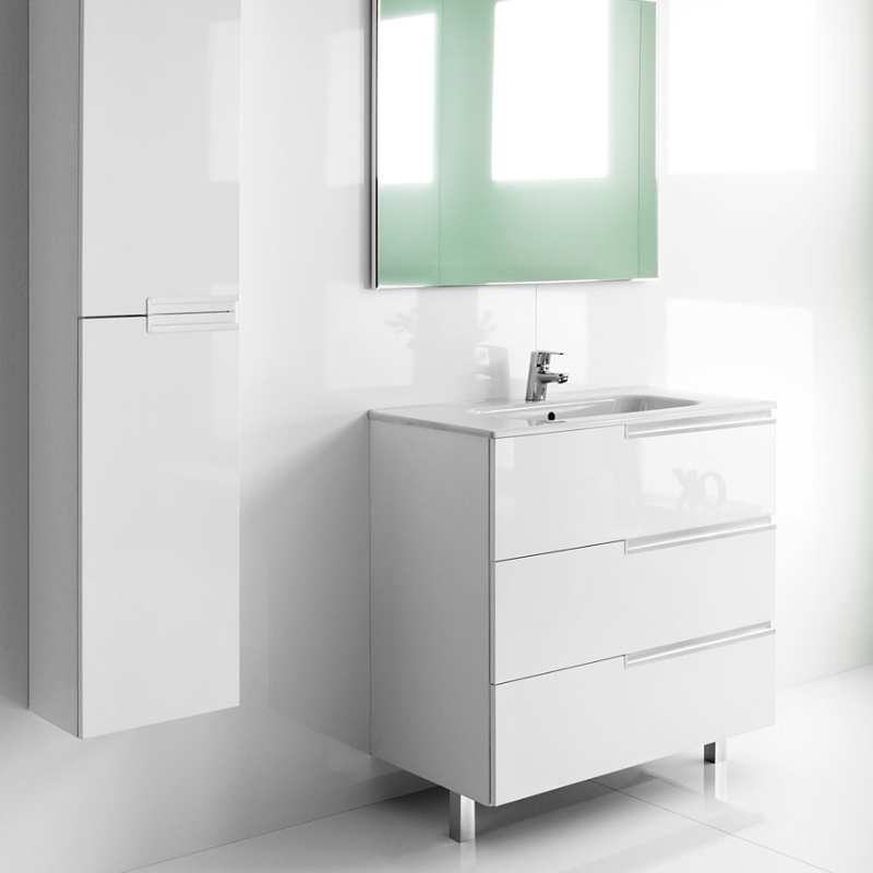 Roca Victoria-N Unik 3-Drawers Vanity Unit with Basin 800mm Wide Gloss White 1 Tap Hole-0