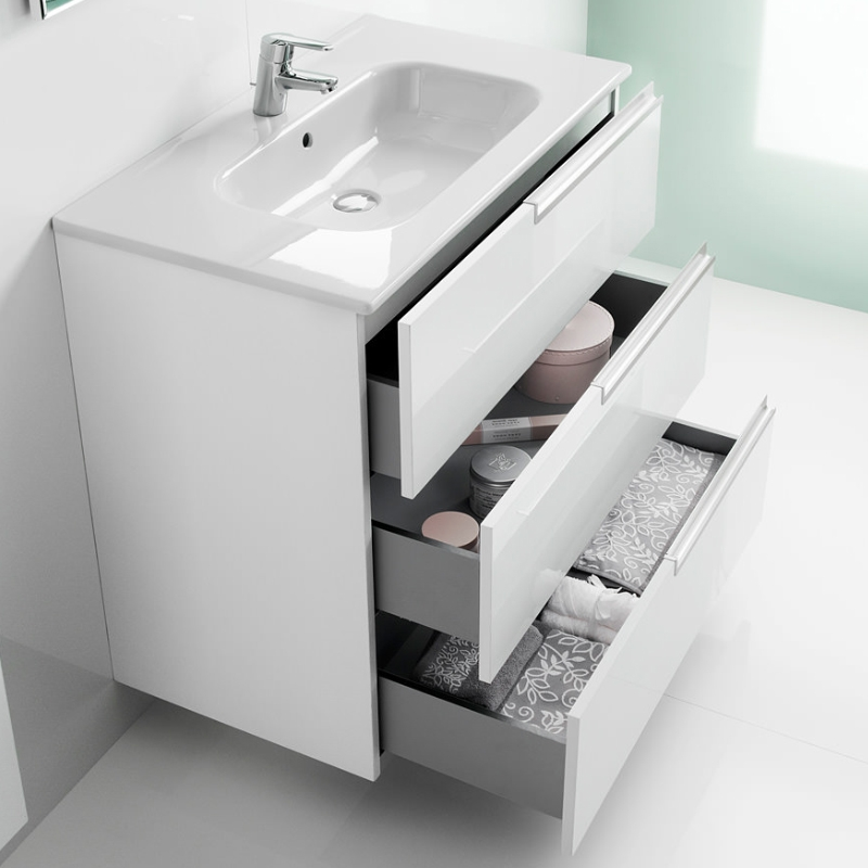 Roca Victoria-N Unik 3-Drawers Vanity Unit with Basin 800mm Wide Gloss White 1 Tap Hole