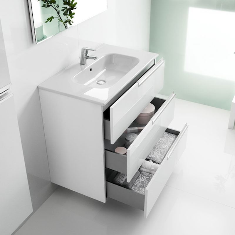 Roca Victoria-N Unik 3-Drawers Vanity Unit with Basin 600mm Wide Gloss White 1 Tap Hole-0