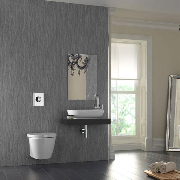 Showerwall Straight Edge Infinity Waterproof Panel 1200mm W x 2440 H Whispering Grass Metallic Grey-0