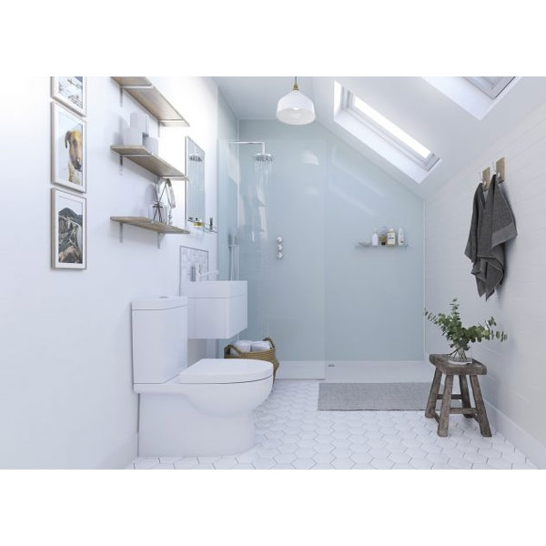 Showerwall Straight Edge Waterproof Shower Panel 900mm Wide x 2440mm High - Aqua Ice-0
