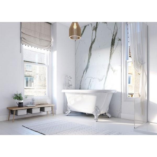 Showerwall Straight Edge Waterproof Shower Panel 1000mm Wide x 2440mm High - Bianco Carrara-0