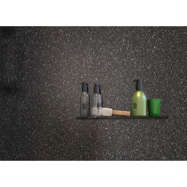 Showerwall Straight Edge Waterproof Shower Panel 1200mm Wide x 2440mm High - Black Galaxy-0