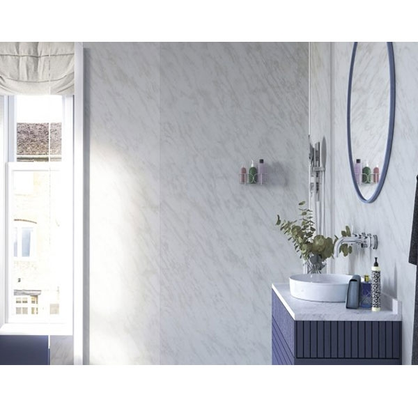 Showerwall Straight Edge Waterproof Shower Panel 900mm Wide x 2440mm High - Carrara Marble