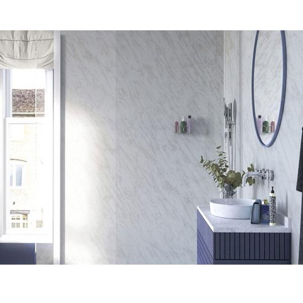 Showerwall Straight Edge Waterproof Shower Panel 1200mm Wide x 2440mm High - Carrara Marble-0