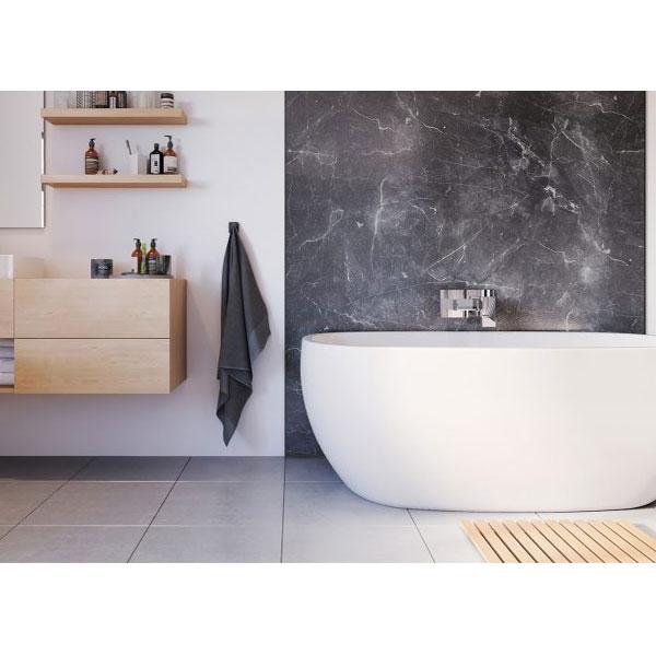 Showerwall Straight Edge Premier Plus Waterproof Shower Panel 1200mm W x 2440mm H - Grigio Marble-0