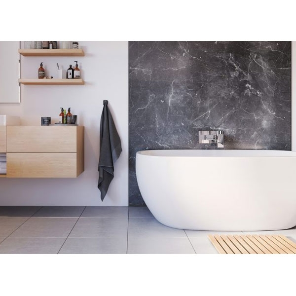 Showerwall Straight Edge Waterproof Shower Panel 900mm Wide x 2440mm High - Grigio Marble-0