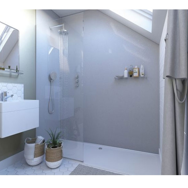 Showerwall Straight Edge Waterproof Shower Panel 900mm Wide x 2440mm High - White Sparkle-0