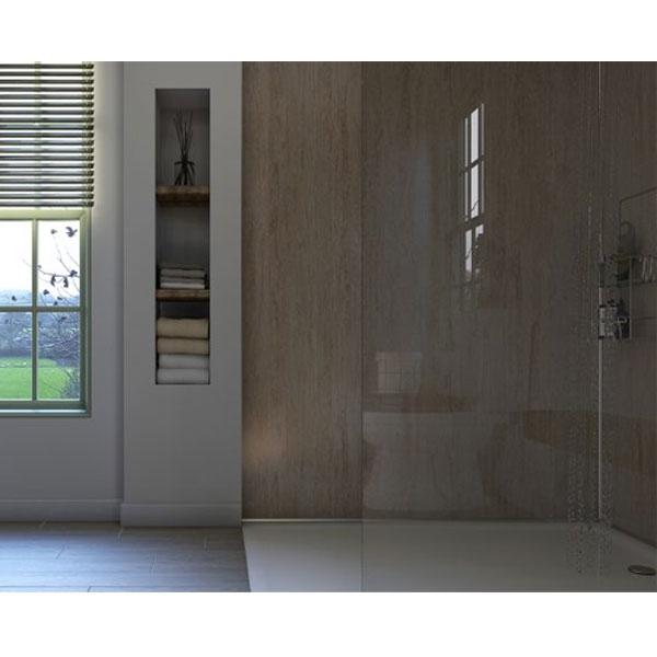 Showerwall T&G Waterproof Shower Panel 585mm Wide x 2440mm High - Travertine Stone-0
