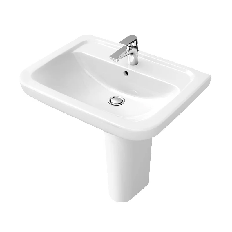 Signature D-Style Standard Basin with Full Pedestal 600mm Wide 1 Tap Hole