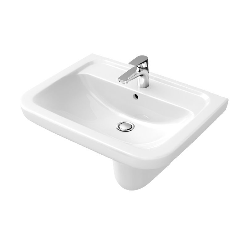 Signature D-Style Standard Basin with Semi Pedestal 600mm Wide 1 Tap Hole