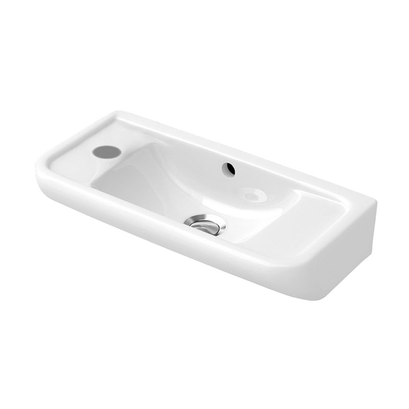 Signature D-Style Compact Wall Hung Basin 550mm Wide - 1 Tap Hole