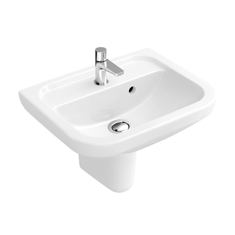 Signature D-Style Compact Basin with Semi Pedestal 450mm Wide 1 Tap Hole
