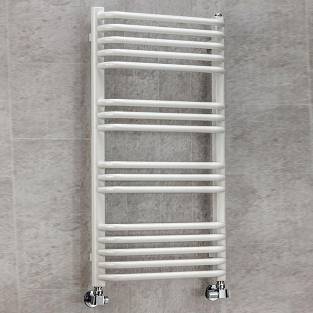S4H Apsley Heated Towel Rail 1100mm H x 500mm W White