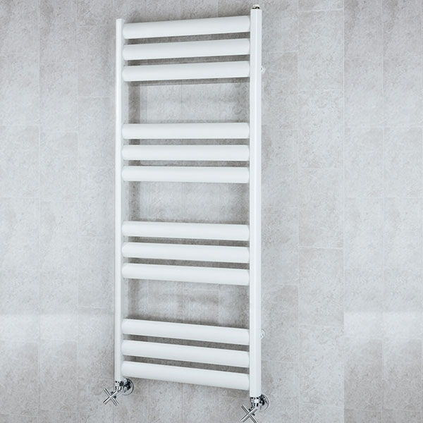 S4H Tallis Straight Heated Ladder Towel Rail 1060mm H x 600mm W - White