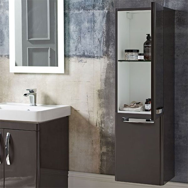 Tavistock Compass Tall Bathroom Storage Unit 350mm Wide - Gloss Clay