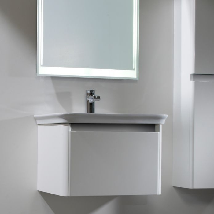 Tavistock Equate Wall Mounted Bathroom Vanity Unit & Basin 600mm Wide White 1 Tap Hole