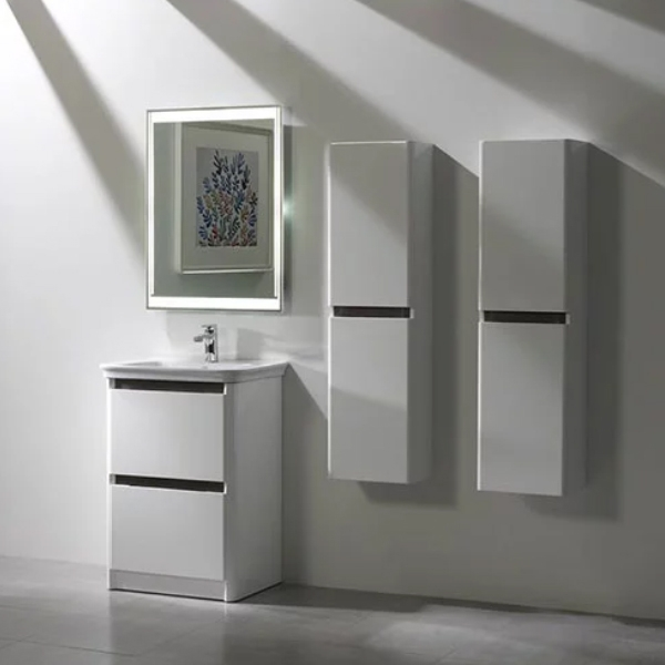 Tavistock Equate Floor Mounted Bathroom Vanity Unit & Basin 600mm W White/Grey Oak 1 Tap Hole