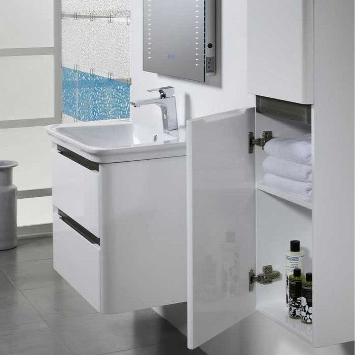 Tavistock Equate Wall Mounted Bathroom Vanity Unit & Basin 700mm Wide White/Grey Oak 1 Tap Hole