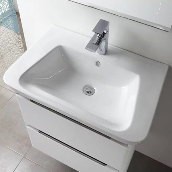 Tavistock Equate Floor Mounted Bathroom Vanity Unit & Basin 700mm W White/Grey Oak 1 Tap Hole