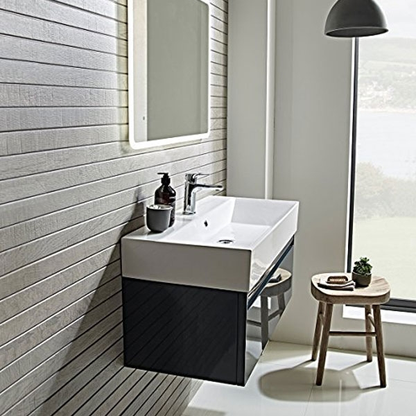 Tavistock Forum Wall Mounted Bathroom Vanity Unit with Basin 700mm Wide - Gloss Dark Grey