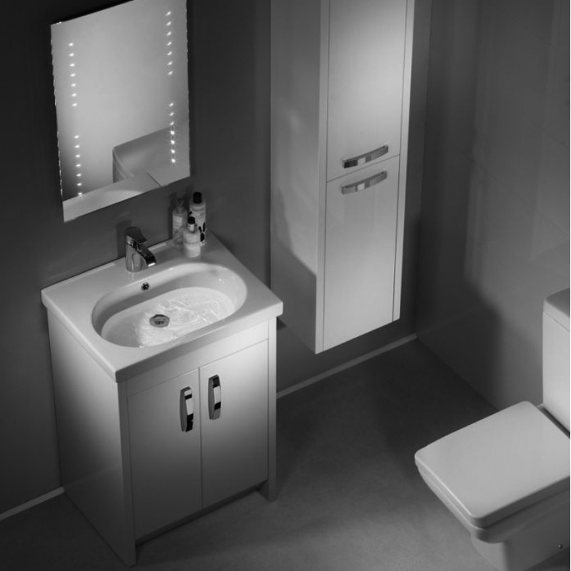 Tavistock Impact Floor Mounted Bathroom Vanity Unit & Basin 600mm W White 1 Tap Hole