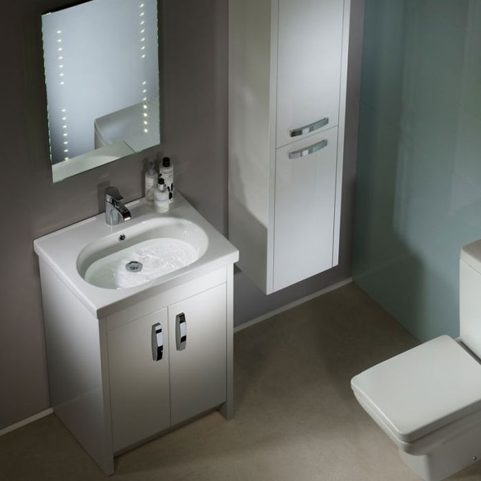 Tavistock Impact Floor Mounted Bathroom Vanity Unit & Basin 600mm W White 1 Tap Hole