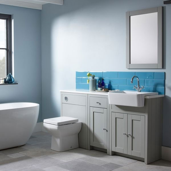 pretty nice d302c 47051 Tavistock Lansdown Freestanding Bathroom Vanity Unit with Basin 600mm Wide  - Pebble Grey