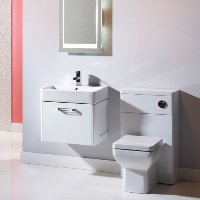 Tavistock Q60 Wall Mounted Bathroom Vanity Unit & Basin 550mm Wide White 1 Tap Hole