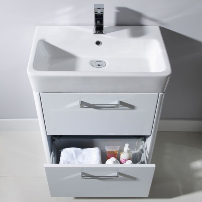 Tavistock Q60 Floor Mounted Bathroom Vanity Unit & Basin 550mm W White 1 Tap Hole