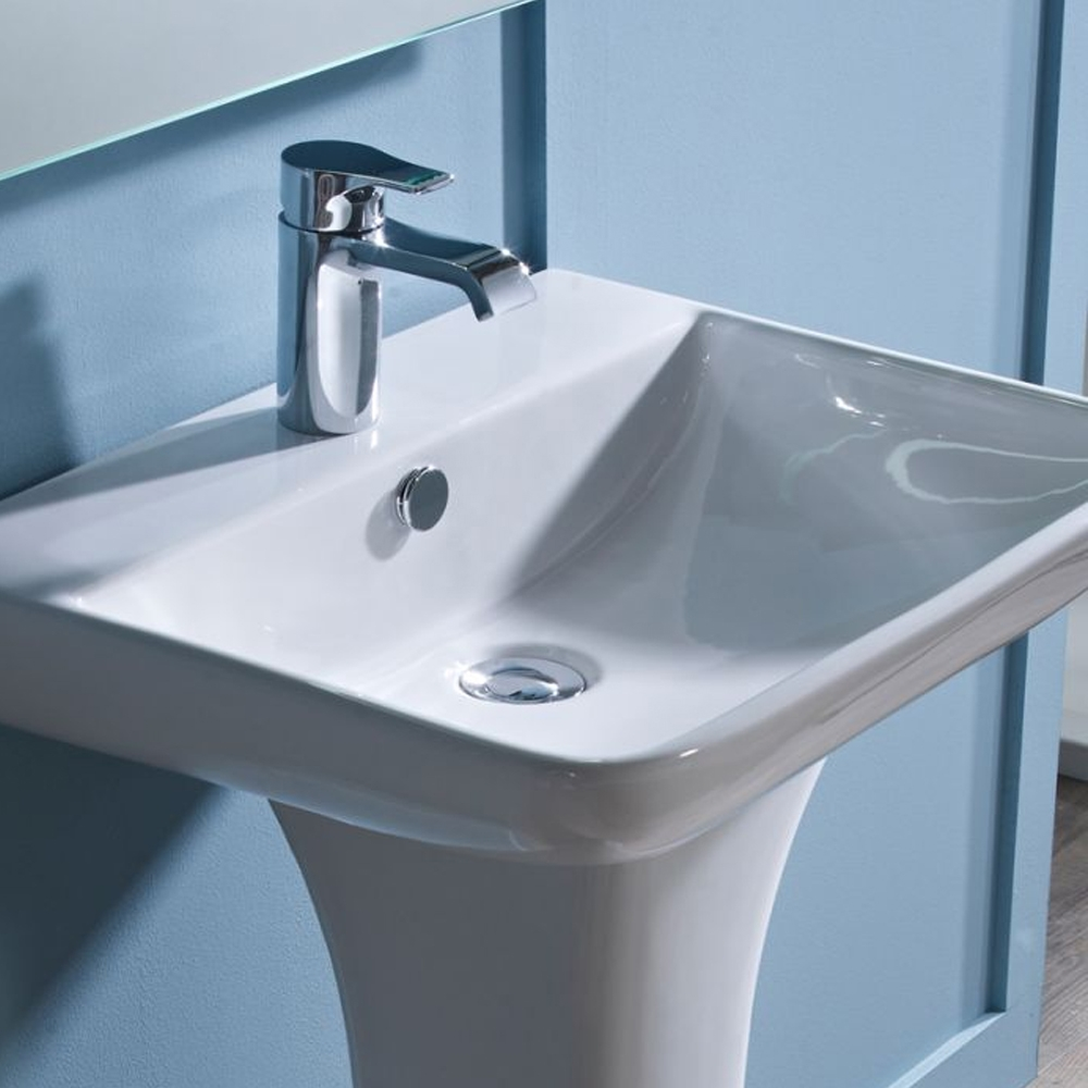 Tavistock Structure Basin & Full Pedestal 550mm Wide 1 Tap Hole