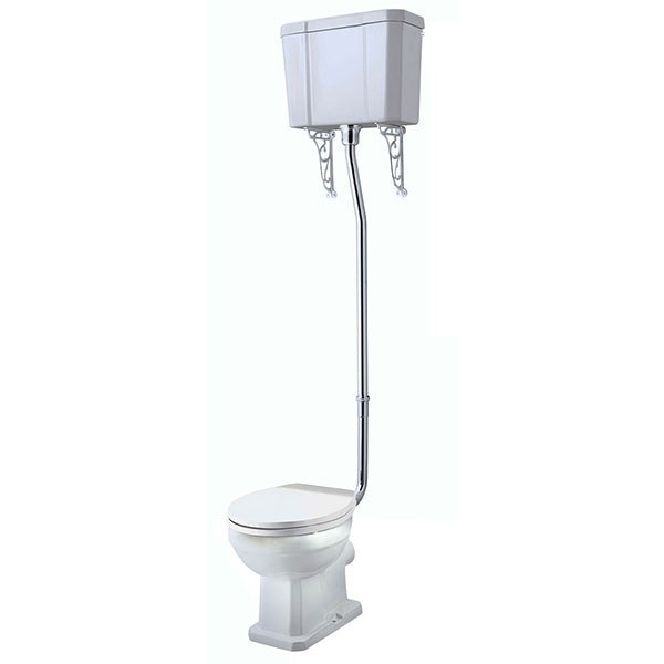 Tavistock Vitoria High Level Toilet WC Pull Chain Cistern Solid Wood Seat-0
