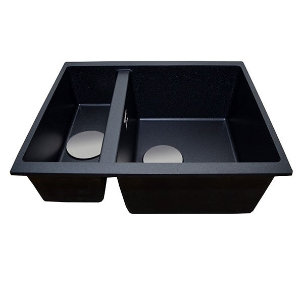 The 1810 Company Cavaduo 335/155U 1.5 Bowl Kitchen Sink - Metallic Black-0