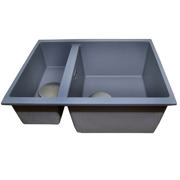 The 1810 Company Cavaduo 335/155U 1.5 Bowl Kitchen Sink - Metallic Grey