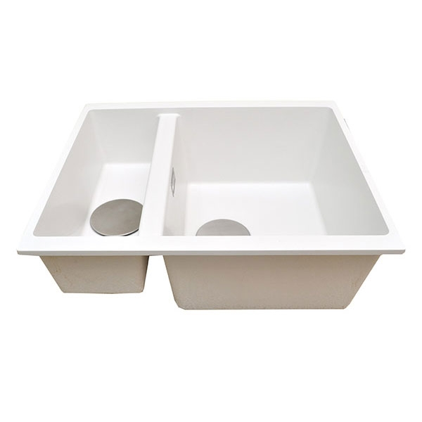The 1810 Company Cavaduo 335/155U 1.5 Bowl Kitchen Sink - Polar White