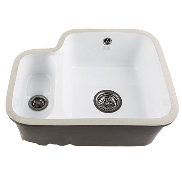 The 1810 Company Etroduo 343/136U 1.5 Bowl Ceramic Kitchen Sink - White