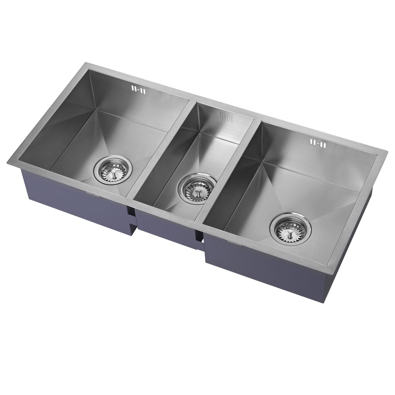 The 1810 Company Zentrio 340/180/340U 3.0 Bowl Kitchen Sink - Stainless Steel-0