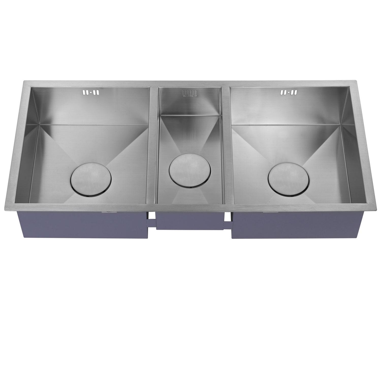 The 1810 Company Zentrio 340/180/340U 3.0 Bowl Kitchen Sink - Stainless Steel-1