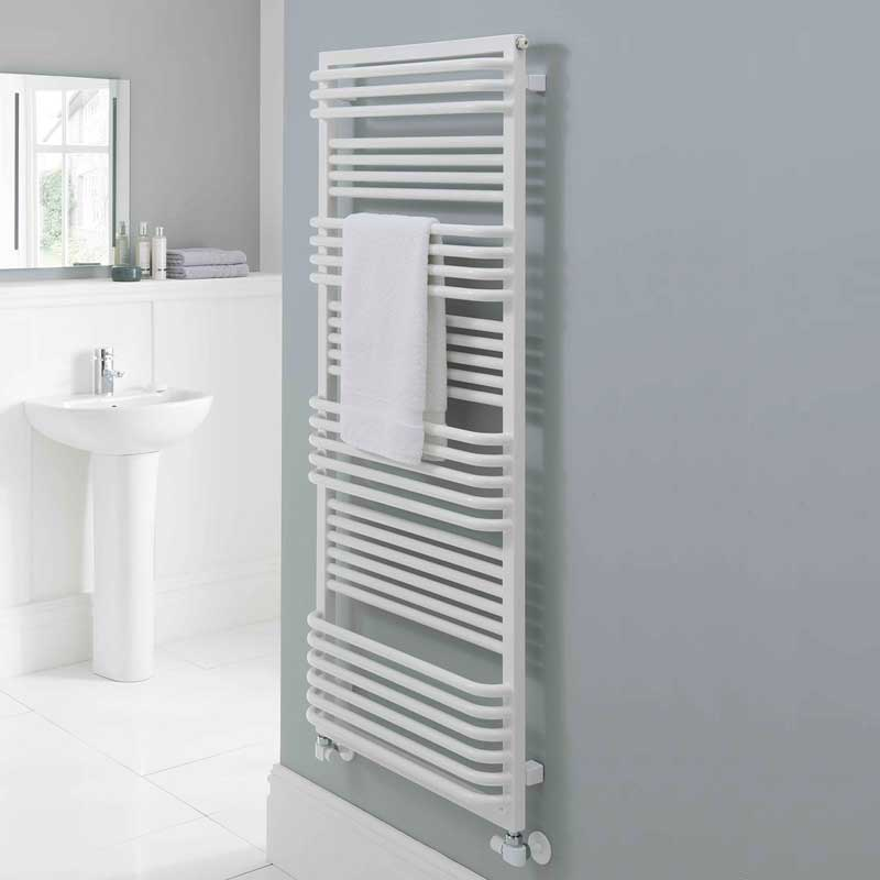 TRC Poll Heated Towel Rail 1480mm H x 600mm W White