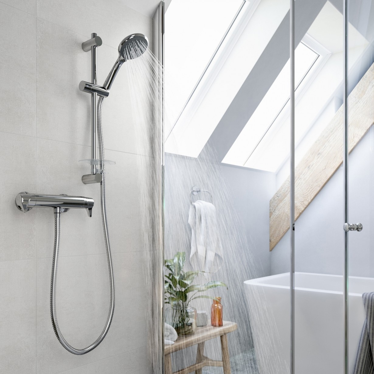 Triton Eden Bar Thermostatic Mixer Shower with Kit and Brackets