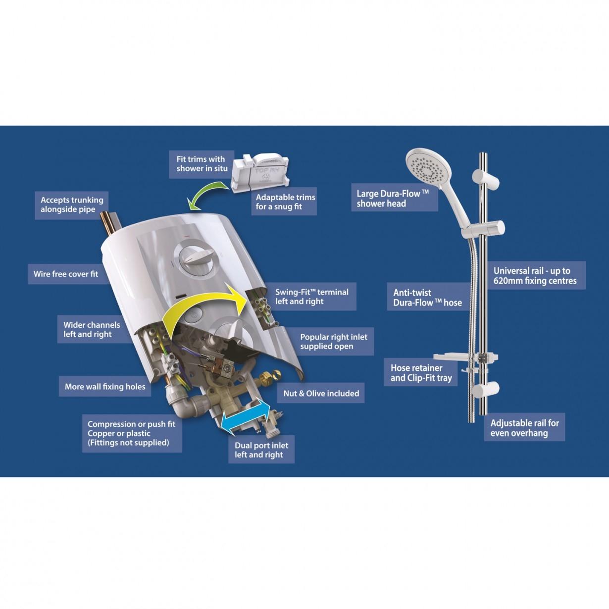 Triton T80 Pro-Fit Electric Shower 10.5KW - White