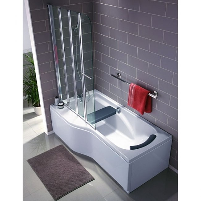 Twyford All Offset Left Handed Family Bath 1700mm x 750/900mm 2 Tap Hole-1