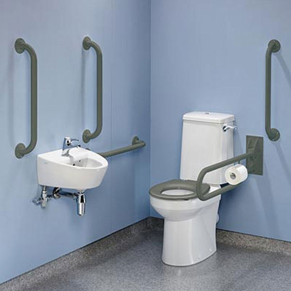 Twyford Doc M Rimless Value Pack Disabled Toilet - Grey