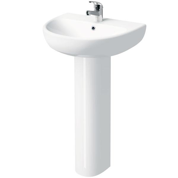 Twyford E100 Round Washbasin & Full Pedestal 500mm Wide 1 Tap Hole