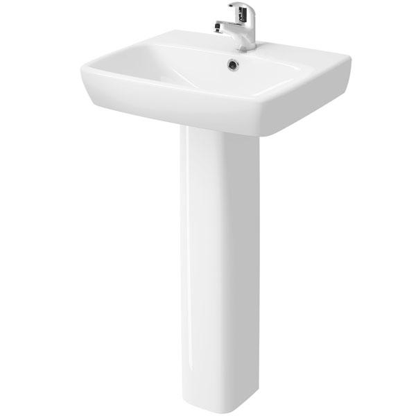 Twyford E100 Square Washbasin & Full Pedestal 550mm Wide 1 Tap Hole