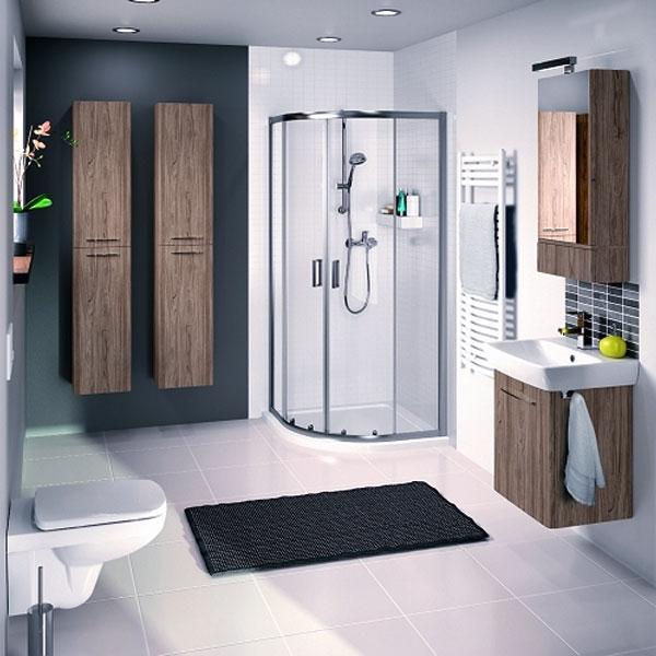 Twyford E100 Square Mirror Cabinet 420mm Wide - Ash Grey