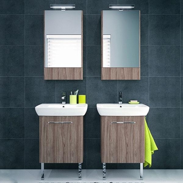 Twyford E100 Square Mirror Cabinet 500mm Wide - Ash Grey